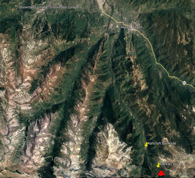 <b>Figure 1:</b> An overview of the area shown in Google Earth. The red triangle marks the approximate location of the avalanche accident. (<a href=javascript:void(0); onClick=win=window.open('https://avalanche.state.co.us/caic/media/full/acc_693_23704.png','caic_media','resizable=1,height=820,width=840,scrollbars=yes');win.focus();return false;>see full sized image</a>)