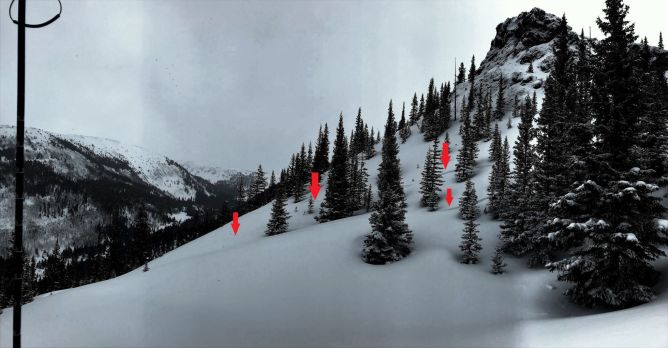 <b>Figure 6:</b> The red arrows mark tracks from the skiers approaching the slope that would later avalanche. Their tracks show how they entered the skier's left hand side of the slope in the days prior to the accident. The avalanche occurred just beyond the snowy ridgeline in the foreground running below the rock otucrop. (<a href=javascript:void(0); onClick=win=window.open('https://avalanche.state.co.us/caic/media/full/acc_693_23728.jpg','caic_media','resizable=1,height=820,width=840,scrollbars=yes');win.focus();return false;>see full sized image</a>)
