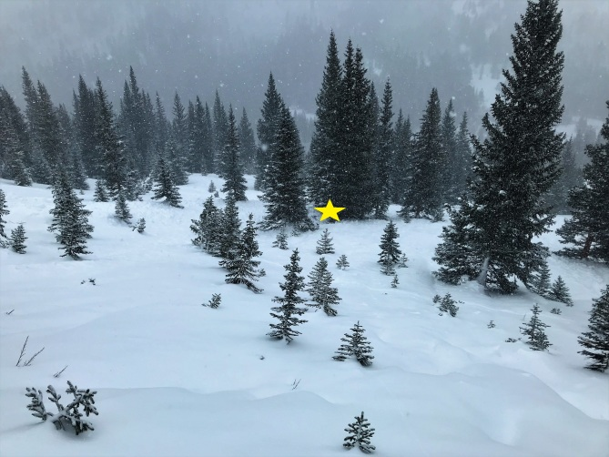 <b>Figure 11:</b> Looking down and west across the avalanche path. The yellow star marks the burial location in the small cluster of trees. (<a href=javascript:void(0); onClick=win=window.open('https://avalanche.state.co.us/caic/media/full/acc_693_23733.jpg','caic_media','resizable=1,height=820,width=840,scrollbars=yes');win.focus();return false;>see full sized image</a>)