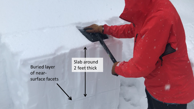 <b>Figure 17:</b> This image shows an Extended Column test along the skier's right flank of the avalanche. Snowpack tests on this weak layer did not produce propagating results. (<a href=javascript:void(0); onClick=win=window.open('https://avalanche.state.co.us/caic/media/full/acc_693_23914.png','caic_media','resizable=1,height=820,width=840,scrollbars=yes');win.focus();return false;>see full sized image</a>)