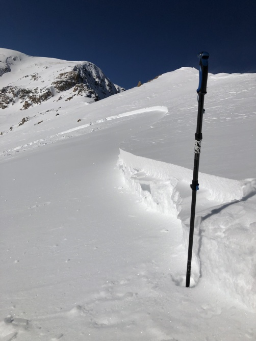 <b>Figure 4:</b> A portion of the crown of an avalanche that caught and carried two skiers on February 10, 2019. (<a href=javascript:void(0); onClick=win=window.open('https://avalanche.state.co.us/caic/media/full/acc_703_24422.jpeg','caic_media','resizable=1,height=820,width=840,scrollbars=yes');win.focus();return false;>see full sized image</a>)
