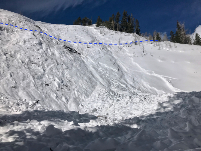 <b>Figure 3:</b> Looking from the debris up towards the start zone of an avalanche that caught and killed two skiers on February 16th, 2019. The dotted blue line shows the location of the summer trail that the two skiers were following. (<a href=javascript:void(0); onClick=win=window.open('https://avalanche.state.co.us/caic/media/full/acc_704_24673.jpg','caic_media','resizable=1,height=820,width=840,scrollbars=yes');win.focus();return false;>see full sized image</a>)
