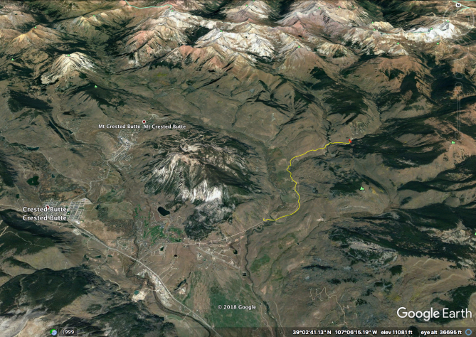 <b>Figure 1:</b> An overview of the accident site location, east of Mount Crested Butte. The yellow line indicates the victims' route. North is up in this image. (<a href=javascript:void(0); onClick=win=window.open('https://avalanche.state.co.us/caic/media/full/acc_704_24825.png','caic_media','resizable=1,height=820,width=840,scrollbars=yes');win.focus();return false;>see full sized image</a>)