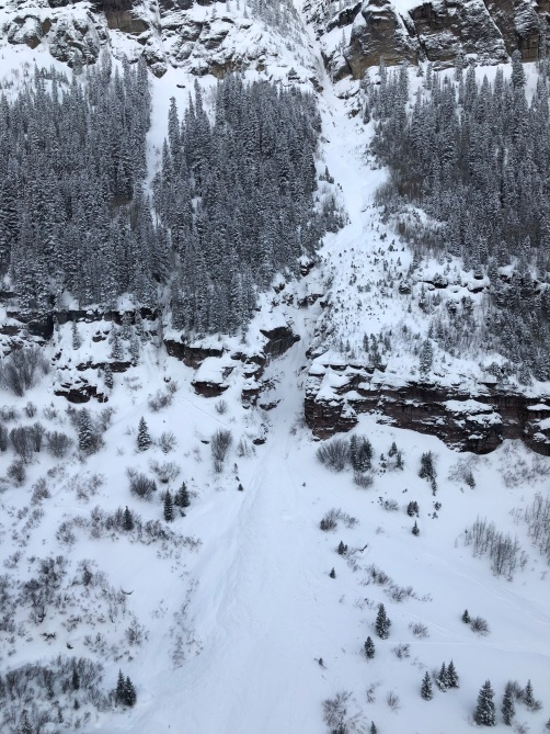 <b>Figure 2:</b> This image shows the avalanche debris in the lower portion of the runout area. Bear Creek February 19, 2019 (<a href=javascript:void(0); onClick=win=window.open('https://avalanche.state.co.us/caic/media/full/acc_705_24716.jpg','caic_media','resizable=1,height=820,width=840,scrollbars=yes');win.focus();return false;>see full sized image</a>)