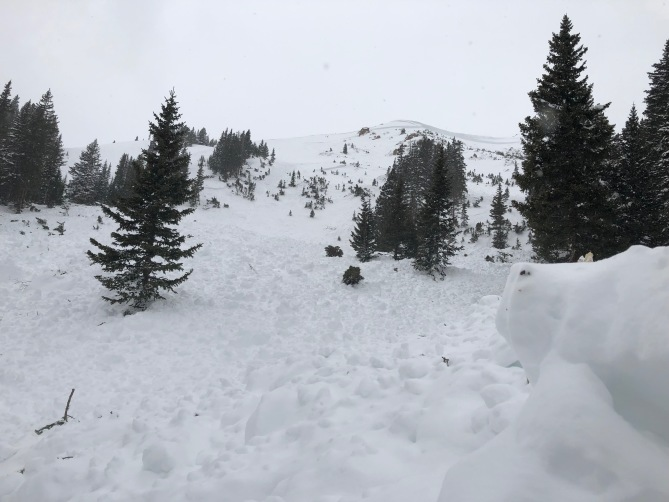 <b>Figure 3:</b> This avalanche broke well over 10 feet deep, is almost 2,000 feet across and ran 1,000 vertical feet, almost as far down slope as it possibly could. This is a very large, very destructive avalanche. (<a href=javascript:void(0); onClick=win=window.open('https://avalanche.state.co.us/caic/media/full/acc_709_25351.jpg','caic_media','resizable=1,height=820,width=840,scrollbars=yes');win.focus();return false;>see full sized image</a>)