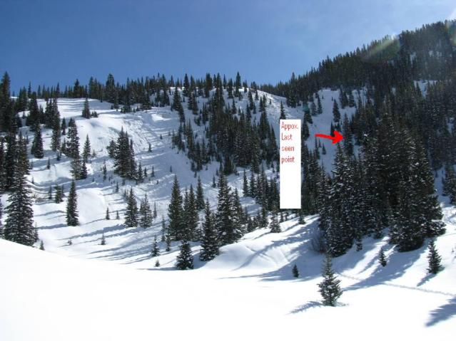 <b>Figure 2:</b> View of avalanche with victims last known location. (<a href=javascript:void(0); onClick=win=window.open('https://avalanche.state.co.us/caic/media/full/acc_81_45.jpg','caic_media','resizable=1,height=820,width=840,scrollbars=yes');win.focus();return false;>see full sized image</a>)