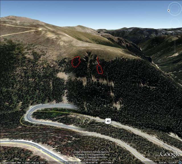 <b>Figure 1:</b> Google Earth image of Floral Park. The approximate outline of the 03/02 snowboard-triggered avalanche is on the left. (<a href=javascript:void(0); onClick=win=window.open('https://avalanche.state.co.us/caic/media/full/acc_95_50.jpg','caic_media','resizable=1,height=820,width=840,scrollbars=yes');win.focus();return false;>see full sized image</a>)