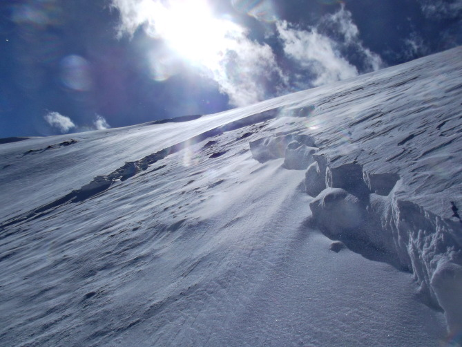 <b>Figure 3:</b> A soft windslab of new snow of about a foot in depth slid on about a pencil hard 2.5in thick Fall crust that lies on about 1-1.5 of facets. (<a href=javascript:void(0); onClick=win=window.open('https://avalanche.state.co.us/caic/media/full/obs_27897_7963.jpg','caic_media','resizable=1,height=820,width=840,scrollbars=yes');win.focus();return false;>see full sized image</a>)