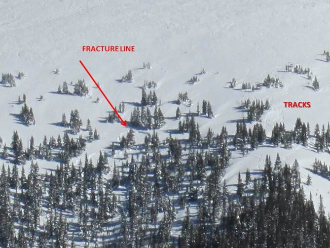 <b>Figure 3:</b> Close up of remote triggered slide. Fortunately it did not propagate far but had the potential of a much larger event. Folks are doing laps from Peak 6 down the SKY Chutes then taking the free bus back to Breck. Potential high !! (<a href=javascript:void(0); onClick=win=window.open('https://avalanche.state.co.us/caic/media/full/obs_29526_8719.jpg','caic_media','resizable=1,height=820,width=840,scrollbars=yes');win.focus();return false;>see full sized image</a>)