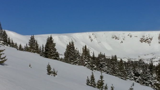 <b>Figure 1:</b> Small natural avalanches in storm snow running on windloaded easterly aspects, SS-N-R2D1.5-S on 3/23/15. (<a href=javascript:void(0); onClick=win=window.open('https://avalanche.state.co.us/caic/media/full/obs_35248_9741.jpg','caic_media','resizable=1,height=820,width=840,scrollbars=yes');win.focus();return false;>see full sized image</a>)