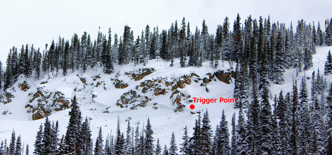 <b>Figure 1:</b> Skier triggered avalanche N-facing slope near tree line. 3.26.16 (<a href=javascript:void(0); onClick=win=window.open('https://avalanche.state.co.us/caic/media/full/obs_41368_12798.jpg','caic_media','resizable=1,height=820,width=840,scrollbars=yes');win.focus();return false;>see full sized image</a>)