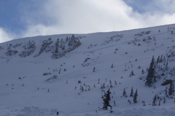 <b>Figure 7:</b> Photograph of the crown line. Average depth of the crown was 3 feet maximum depth about 5 feet. South Diamond peak 12-24-2016. (<a href=javascript:void(0); onClick=win=window.open('http://avalanche.state.co.us/caic/media/full/obs_43762_14207.jpg','caic_media','resizable=1,height=820,width=840,scrollbars=yes');win.focus();return false;>see full sized image</a>)