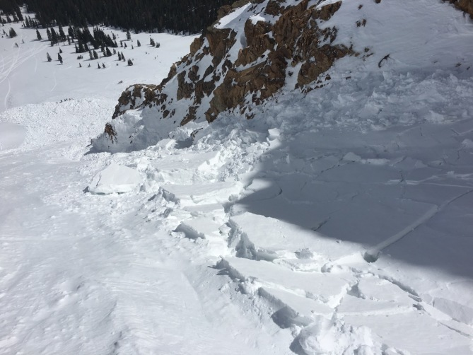 <b>Figure 2:</b> Looking down the debris field of an unintentional skier-triggered avalanches on Mt. Parnasssus 4/8/2017. (<a href=javascript:void(0); onClick=win=window.open('http://avalanche.state.co.us/caic/media/full/obs_46879_16637.jpeg','caic_media','resizable=1,height=820,width=840,scrollbars=yes');win.focus();return false;>see full sized image</a>)