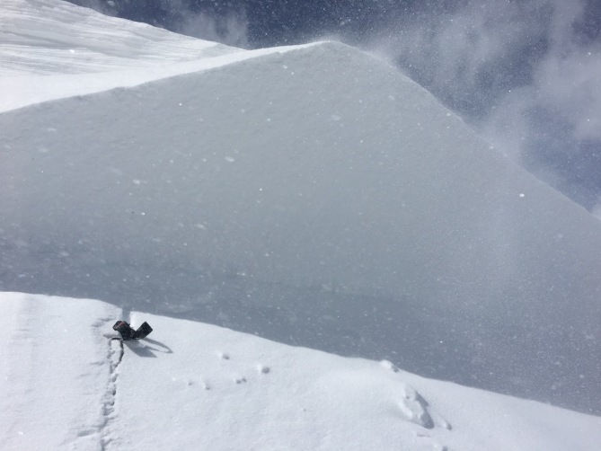 <b>Figure 3:</b> Looking at the deepest part of the crown of an unintentional skier-triggered avalanches on Mt. Parnasssus 4/8/2017. (<a href=javascript:void(0); onClick=win=window.open('http://avalanche.state.co.us/caic/media/full/obs_46879_16638.jpeg','caic_media','resizable=1,height=820,width=840,scrollbars=yes');win.focus();return false;>see full sized image</a>)