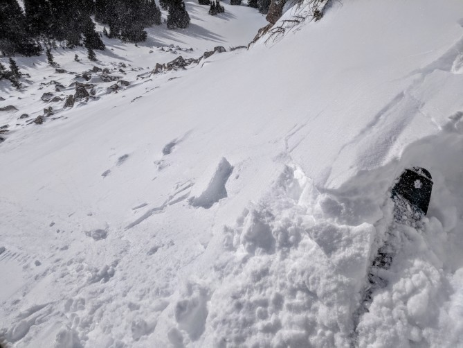 <b>Figure 1:</b> Soft, wind drifted snow cracking on storm snow. (<a href=javascript:void(0); onClick=win=window.open('https://avalanche.state.co.us/caic/media/full/obs_48610_17976.jpg','caic_media','resizable=1,height=820,width=840,scrollbars=yes');win.focus();return false;>see full sized image</a>)