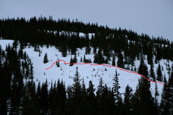 <b>Figure 1:</b> Avalanches on cross loaded ridge line on NE aspect below tree line, 11,000 ft.  ~18&quot; slab with 200 ft crown.  Dug a pic nearby and saw ECTP22 with Q1 release. (<a href=javascript:void(0); onClick=win=window.open('https://avalanche.state.co.us/caic/media/full/obs_48904_18350.jpg','caic_media','resizable=1,height=820,width=840,scrollbars=yes');win.focus();return false;>see full sized image</a>)