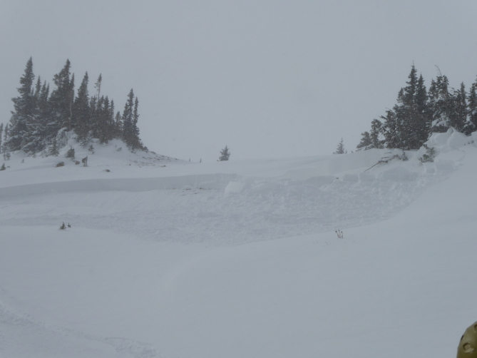 <b>Figure 3:</b> Skier triggered avalanche in Dry Gulch 11/4/2018. Areas like this small wind-loaded slope are the most dangerous right now. (<a href=javascript:void(0); onClick=win=window.open('https://avalanche.state.co.us/caic/media/full/obs_51724_20943.jpg','caic_media','resizable=1,height=820,width=840,scrollbars=yes');win.focus();return false;>see full sized image</a>)