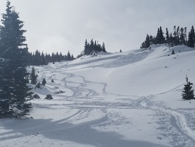 <b>Figure 6:</b> Skier triggered avalanche in Dry Gulch 11/4/2018. Areas like this small wind-loaded slope are the most dangerous right now. (<a href=javascript:void(0); onClick=win=window.open('https://avalanche.state.co.us/caic/media/full/obs_51724_20948.jpg','caic_media','resizable=1,height=820,width=840,scrollbars=yes');win.focus();return false;>see full sized image</a>)