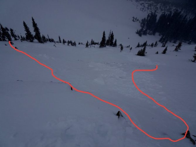 <b>Figure 1:</b> First avalanche triggered from ridge. N, 11,600' (<a href=javascript:void(0); onClick=win=window.open('https://avalanche.state.co.us/caic/media/full/obs_53342_22740.jpg','caic_media','resizable=1,height=820,width=840,scrollbars=yes');win.focus();return false;>see full sized image</a>)