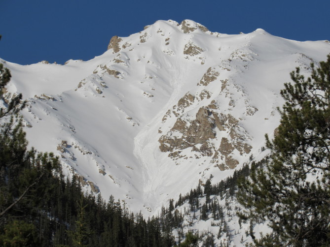 <b>Figure 2:</b> Loose Wet avalanches near La Plata Peak on a northeast-facing slope (<a href=javascript:void(0); onClick=win=window.open('https://avalanche.state.co.us/caic/media/full/obs_56561_26688.jpg','caic_media','resizable=1,height=820,width=840,scrollbars=yes');win.focus();return false;>see full sized image</a>)