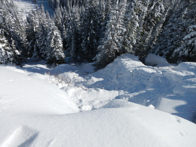 <b>Figure 9:</b> Looking down the path from the rim of Prima Cornice. This the high point of the crown face. (<a href=javascript:void(0); onClick=win=window.open('https://avalanche.state.co.us/media/full/acc_432_2414.jpg','caic_media','resizable=1,height=820,width=840,scrollbars=yes');win.focus();return false;>see full sized image</a>)