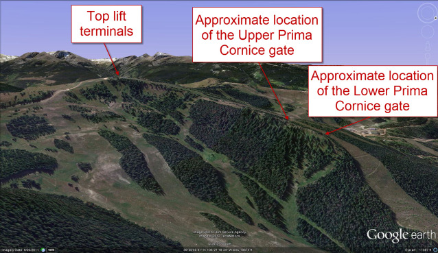 <b>Figure 11:</b> A Google Earth image of the Prima Cornice area. (<a href=javascript:void(0); onClick=win=window.open('https://avalanche.state.co.us/media/full/acc_432_2630.jpg','caic_media','resizable=1,height=820,width=840,scrollbars=yes');win.focus();return false;>see full sized image</a>)