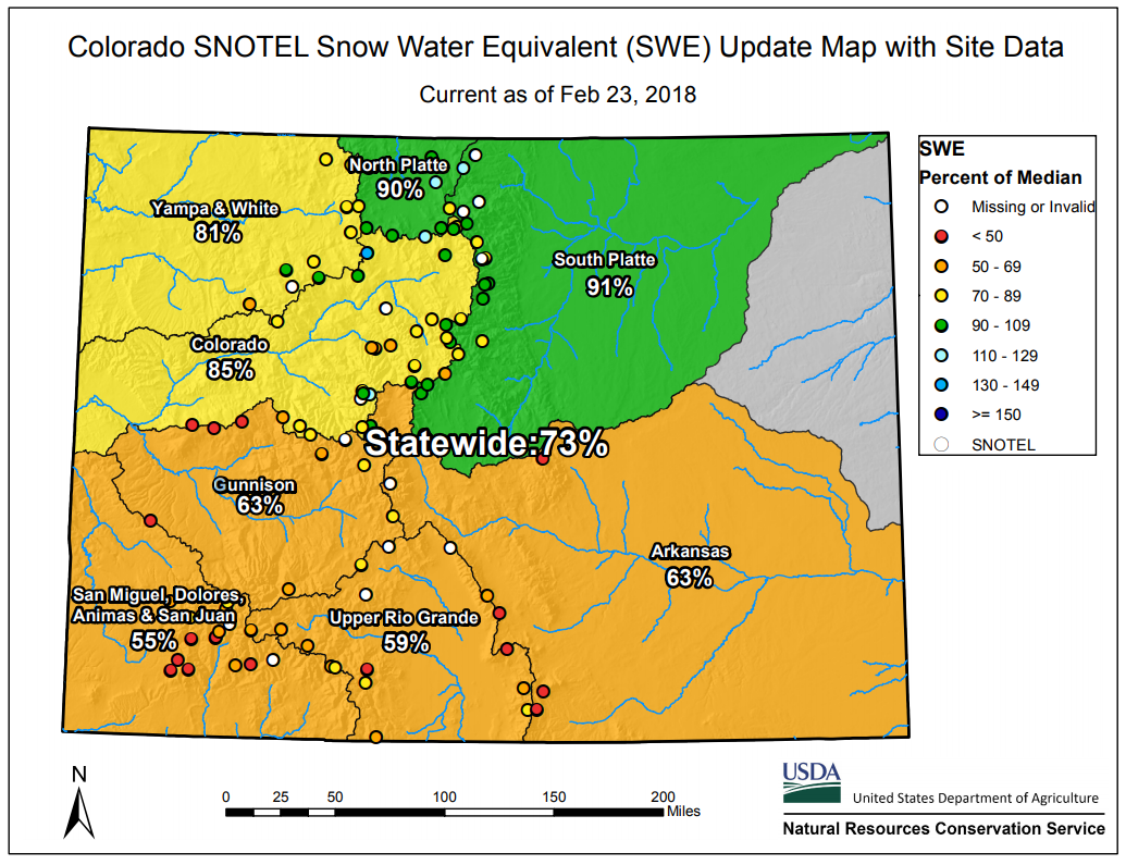 Colorado Snowpack Map February Snowpack Update